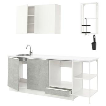 IKEA ENHET Kuchnia, biały/imitacja betonu biały, 223x63.5x222 cm