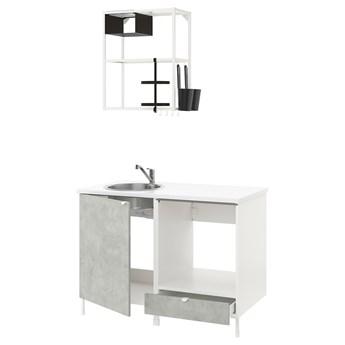 IKEA ENHET Kuchnia, biały/imitacja betonu, 123x63.5x222 cm