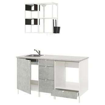IKEA ENHET Kuchnia, biały/imitacja betonu, 163x63.5x222 cm
