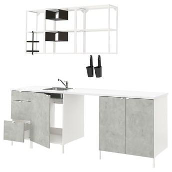 IKEA ENHET Kuchnia, biały/imitacja betonu, 243x63.5x222 cm