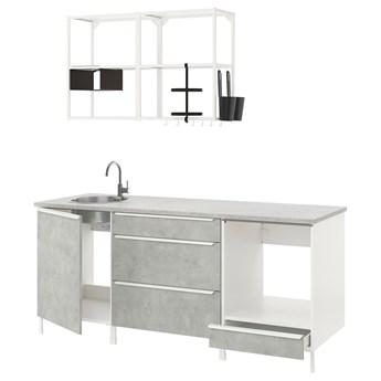 IKEA ENHET Kuchnia, biały/imitacja betonu, 203x63.5x222 cm