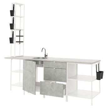 IKEA ENHET Kuchnia, biały/imitacja betonu, 243x63.5x241 cm