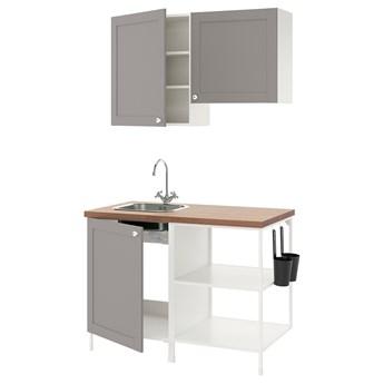 IKEA ENHET Kuchnia, biały/szary rama, 123x63.5x222 cm