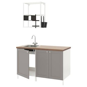 IKEA ENHET Kuchnia, biały/szary rama, 143x63.5x222 cm