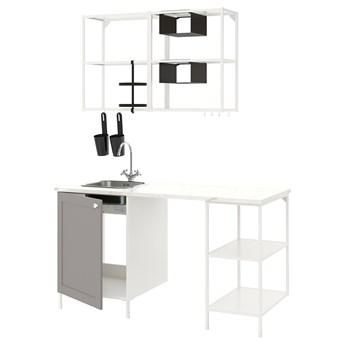 IKEA ENHET Kuchnia, biały/szary rama, 163x63.5x222 cm