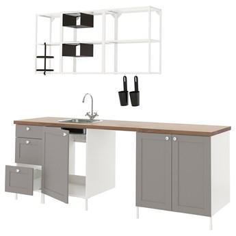 IKEA ENHET Kuchnia, biały/szary rama, 243x63.5x222 cm