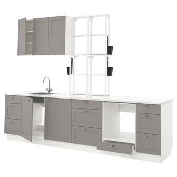 IKEA ENHET Kuchnia, biały/szary rama, 323x63.5x241 cm