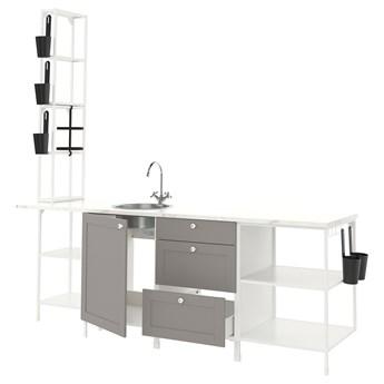 IKEA ENHET Kuchnia, biały/szary rama, 243x63.5x241 cm