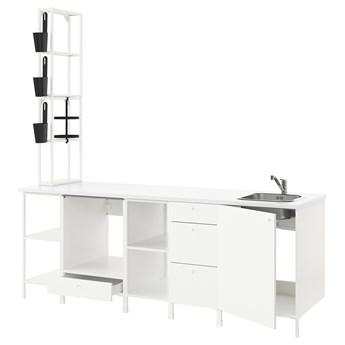 IKEA ENHET Kuchnia, biały, 243x63.5x241 cm