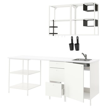 IKEA ENHET Kuchnia, biały, 223x63.5x222 cm