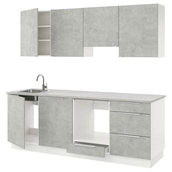 IKEA ENHET Kuchnia, imitacja betonu, 243x63.5x222 cm