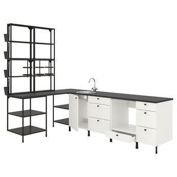 IKEA ENHET Kuchnia narożna, antracyt/biały rama, Wysokość szafka wisząca: 150 cm