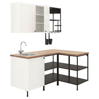 IKEA ENHET Kuchnia narożna, antracyt/biały rama, Wysokość szafka wisząca: 75 cm