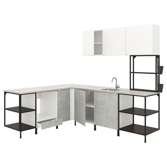 IKEA ENHET Kuchnia narożna, antracyt/imitacja betonu biały, Wysokość szafka wisząca: 135 cm