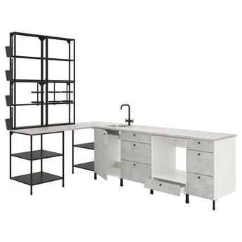 IKEA ENHET Kuchnia narożna, antracyt/imitacja betonu, Wysokość szafka wisząca: 150 cm