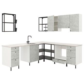 IKEA ENHET Kuchnia narożna, antracyt/imitacja betonu, Wysokość szafka wisząca: 75 cm