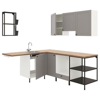 IKEA ENHET Kuchnia narożna, antracyt/szary rama, Wysokość szafka wisząca: 75 cm