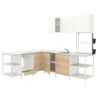 IKEA ENHET Kuchnia narożna, biały/imit. dębu biały, Wysokość szafka wisząca: 135 cm
