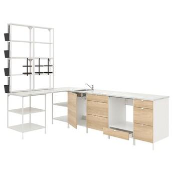 IKEA ENHET Kuchnia narożna, biały/imit. dębu, Wysokość szafka wisząca: 150 cm
