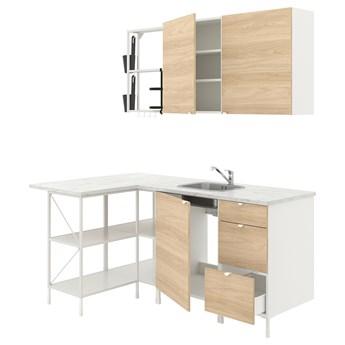IKEA ENHET Kuchnia narożna, biały/imit. dębu, Wysokość szafka wisząca: 75 cm