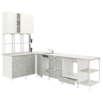 IKEA ENHET Kuchnia narożna, biały/imitacja betonu biały, Wysokość szafka wisząca: 150 cm