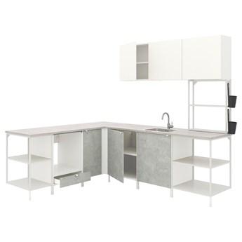 IKEA ENHET Kuchnia narożna, biały/imitacja betonu biały, Wysokość szafka wisząca: 135 cm