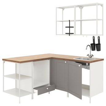 IKEA ENHET Kuchnia narożna, biały/szary rama, Wysokość szafka wisząca: 75 cm
