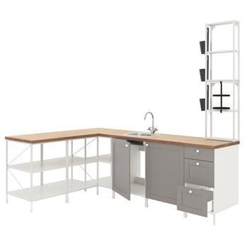 IKEA ENHET Kuchnia narożna, biały/szary rama, Wysokość szafka wisząca: 150 cm