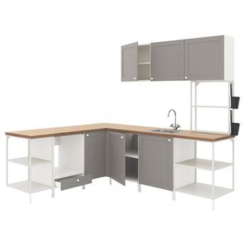 IKEA ENHET Kuchnia narożna, biały/szary rama, Wysokość szafka wisząca: 135 cm