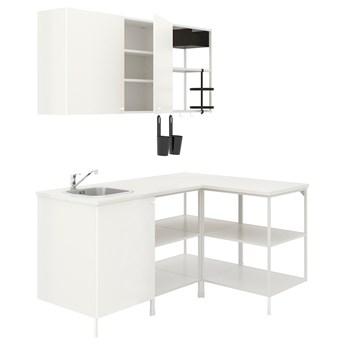 IKEA ENHET Kuchnia narożna, biały, Wysokość szafka wisząca: 75 cm