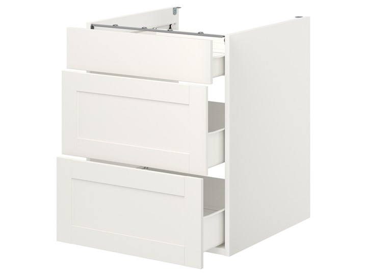 IKEA ENHET Szafka stojąca/3 szuflady, biały/biały rama, 60x62x75 cm Szafka dolna Płyta MDF Kategoria Szafki kuchenne