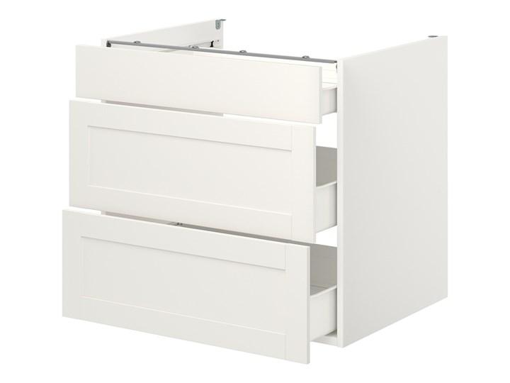 IKEA ENHET Szafka stojąca/3 szuflady, biały/biały rama, 80x62x75 cm Płyta MDF Szafka dolna Kategoria Szafki kuchenne