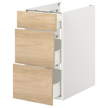 IKEA ENHET Szafka stojąca/3 szuflady, biały/imit. dębu, 40x62x75 cm