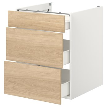IKEA ENHET Szafka stojąca/3 szuflady, biały/imit. dębu, 60x62x75 cm