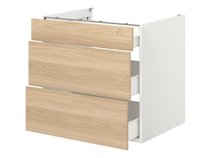 IKEA ENHET Szafka stojąca/3 szuflady, biały/imit. dębu, 80x62x75 cm