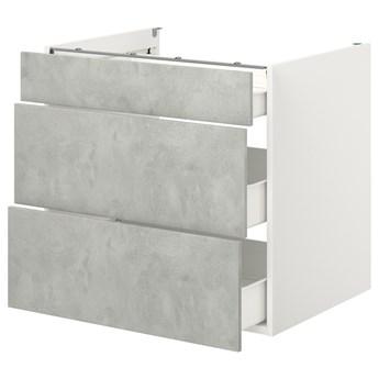 IKEA ENHET Szafka stojąca/3 szuflady, biały/imitacja betonu, 80x62x75 cm