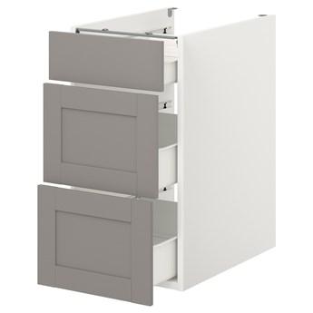 IKEA ENHET Szafka stojąca/3 szuflady, biały/szary rama, 40x62x75 cm