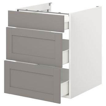 IKEA ENHET Szafka stojąca/3 szuflady, biały/szary rama, 60x62x75 cm