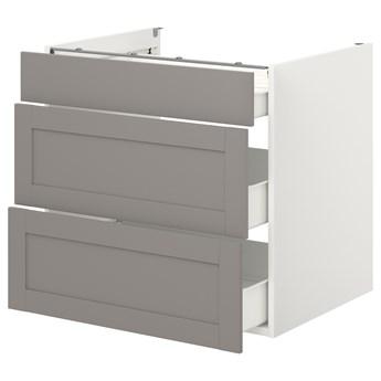 IKEA ENHET Szafka stojąca/3 szuflady, biały/szary rama, 80x62x75 cm