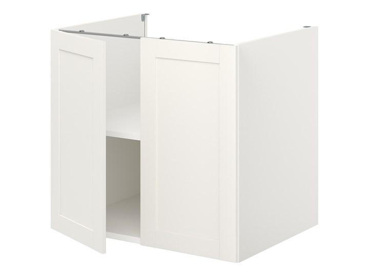 IKEA ENHET Szafka stojąca z półką/drzwi, biały/biały rama, 80x62x75 cm Płyta MDF Szafka dolna Kategoria Szafki kuchenne