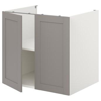 IKEA ENHET Szafka stojąca z półką/drzwi, biały/szary rama, 80x62x75 cm