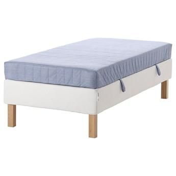 IKEA ESPEVÄR/VADSÖ Łóżko kontynentalne, biały/twardy jasnoniebieski, 90x200 cm
