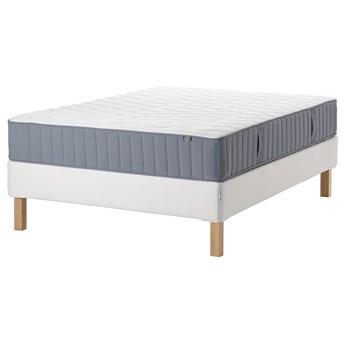 IKEA ESPEVÄR/VÅGSTRANDA Łóżko kontynentalne, biały/średnio twardy jasnoniebieski, 140x200 cm