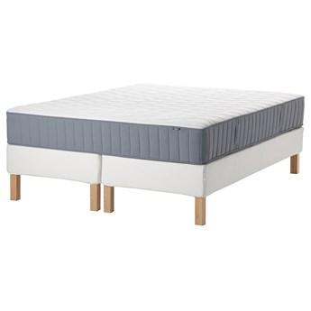 IKEA ESPEVÄR/VÅGSTRANDA Łóżko kontynentalne, biały/średnio twardy jasnoniebieski, 180x200 cm