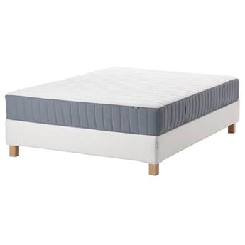 IKEA ESPEVÄR/VALEVÅG Łóżko kontynentalne, biały/średnio twardy jasnoniebieski, 140x200 cm