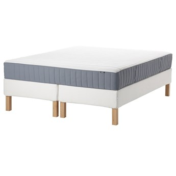 IKEA ESPEVÄR/VALEVÅG Łóżko kontynentalne, biały/średnio twardy jasnoniebieski, 180x200 cm
