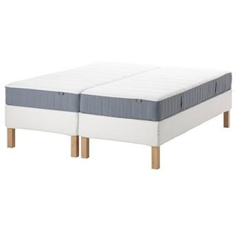 IKEA ESPEVÄR/VESTERÖY Łóżko kontynentalne, biały/średnio twardy jasnoniebieski, 180x200 cm