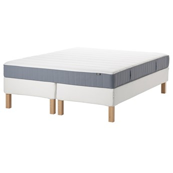IKEA ESPEVÄR/VESTERÖY Łóżko kontynentalne, biały/twardy jasnoniebieski, 180x200 cm