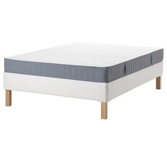 IKEA ESPEVÄR/VESTMARKA Łóżko kontynentalne, biały/średnio twardy jasnoniebieski, 140x200 cm