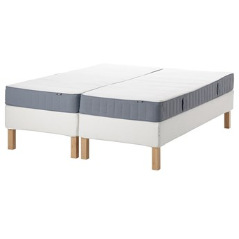 IKEA ESPEVÄR/VESTMARKA Łóżko kontynentalne, biały/średnio twardy jasnoniebieski, 180x200 cm